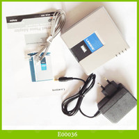 Wholesale 10PCS Portable UNLOCKED LINKSYS PAP2T NA SIP VOIP Phone Adapter With Ports DHL