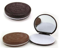 compact mirror - chocolate sandwich biscuit makeup mirror chocolate portable mirror Brown Plastic Chocolate Cookies Makeup Tools Face Compact Mirror Comb