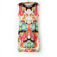 Wholesale New Fashion Symmetry Circulating Doodle Flower Women s Print Party Mini Casual Dress Tank Slim Chiffon Dress Size S M L