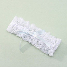 Wholesale white lace wedding Garters Bridal Garters with light blue bow