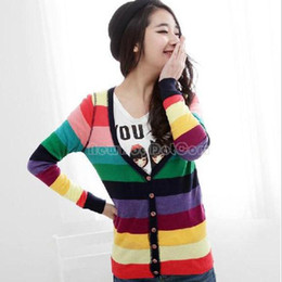 Wholesale Fashion Candy Color Rainbow Stripe Knitted Knitwear Cardigan Sweaters NI5L