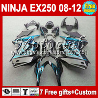 Wholesale 7gifts Custom For Kawasaki Ninja EX250R Kit cyan flames EX EX250 black Fairings