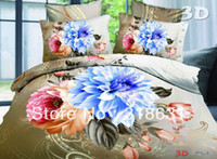 Wholesale 4 or pc Low cost d Floral Home Bedding Set Fabric Doona Duvet Cover Set Comforter Sets Imitated Oil Painting Style Full Queen