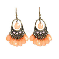 Wholesale Sexy Waterdrop Beaded Tassels Girls Lady Earrings Eardrop Fashion Orange NI5L