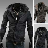 Wholesale 2013 New Slim Sexy Men Jacket Coat Cool Men Clothing Fast Drying Thin Coat Black Coffee Sizes Retail