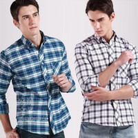 Wholesale Men Oxford silk cloth plaid male long sleeve slim male casual plaid shirts color NJF20 XS XXXL