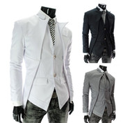 Wholesale New Arrival Fashion Classic Men s Suits Asymmetrical Fashion Men Slim Blazer Cool Men s Clothing Black White Gray M XXL