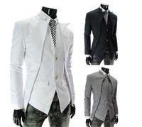Wholesale Brand New Fashion Classic Men s Suits Asymmetrical Fashion Men Slim Blazer Cool Men s Clothing Black White Gray M XXL