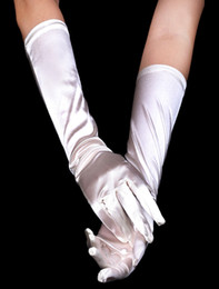 Wholesale Classic Beige White Satin Wedding Bridal Gloves sheer r19 u11 opi