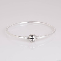 Wholesale 925 Sterling Silver Bangle Bracelet with Snap Clasp for European Charms and Beads