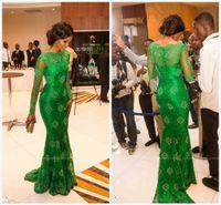 Wholesale 2014 Elegant Applique Lace Pageant Dresses Spring New Style Illusion Long Sleeves Bateau Satin Sweep Train Sheath Zipper Evening Gowns DA201