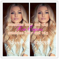 "Cheap Free Shipping 24"" two tone color Fashion wave ombre lace front wigs 100% Peruvian Virgin Blonde human hair with baby hair"