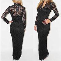 Wholesale 2014 Hot Sale Evening Prom Dress Sexy Sheath Lace Dress Long Ankle Length Women Club Party Dresses Choose White Black Blue