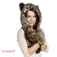 Wholesale Hot New Women Girl Lady Cute Full Animal Hood Hoodie Faux Fur Hat Winter Cap WF
