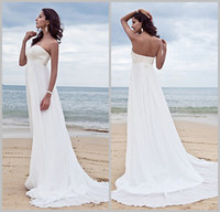 Wholesale Custom Sweetheart Lace Appliqued Beaded Empire Waist Sheath Court Train Chiffon Bridal Dress New Model Beach Wedding Dress DL1309628