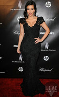 Cheap QM- Unique Design 2014 Sexy Kim Kardashian Dress Black V Neck Cap Sleeve Lace Appliques Backless Floor Length Trumpet Mermaid Evening Gowns
