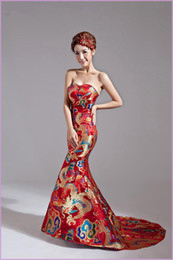 Wholesale 2014 Wedding Dresses Classical Red Gold Chinese Embroidery Cheongsam Dragon Phoenix Image Sweetheart Long Train Backless Prom Dresses