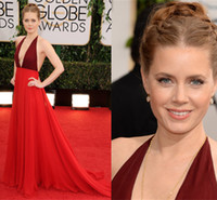 Cheap Amy Adams 2014 Red Carpet Dress The 71st Golden Globe Awards Evening Celebrity Dresses Valentino V Neck Long Backless Dress Gowns Burgundy