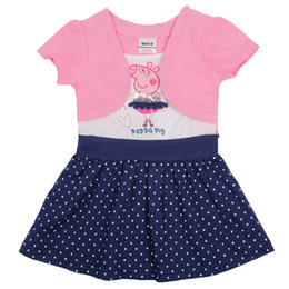 Wholesale Cute Peppa Pig Cartoon Printing Girl Dress Polka Dot Short Sleeve Children Kids Fake Two Pieces Summer Dresses Y Y Brand Nova H4371