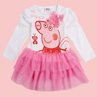 Wholesale Peppa Pig Butterfly Printing Girl Tutu Dress Puff Sleeve Cupcake Children Kids Fake Two Pieces Summer Dresses Y Y Brand Nova H4372