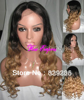 Cheap Grade aaaa two tone color #1b 27 loose body curly indian human hair blonde lace front wigs with bleached knots Free Shipping