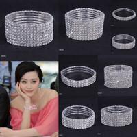 Wholesale Rows Clear Rhinestone Wedding Bracelet Crystal Stretchy Bridal Cuff Bangle CZ Waistbands