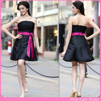 Wholesale New Arrival Red And Black Bridesmaid Dresses Strapless A line Satin Short Prom Gowns Graduation Dress