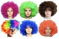 Wholesale Halloween Party wig Soccer fans afro curly hair wig Cosplay wig Multi color