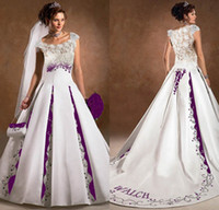 A-Line purple and white wedding dress - A line Sheer Square Neck Lace Embroidery Court Train Purple And White Satin Bridal Dress New Arrival Wedding Dress DL1310029