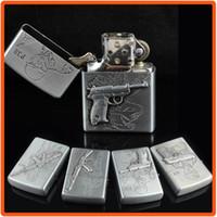 Wholesale With Rfile Gun Pattern Grey Metal Case Flip Up Oil Lighter Cigarette Cigar Tobacco Lighter