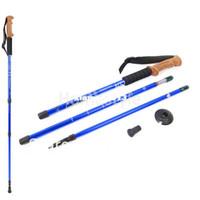 Cheap New Arrival Alpenstocks 3-Step Aluminum Alloy 3-section Hiking Pole Telescopic Antishock Pole Walking Stick Blue 17815