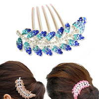Wholesale New Arrivals Olive leaf Design Women Hair Accessories Luxury Crystal Rhinestone Hairdisk Hair Comb Bride Hairpin For Party Feast Wedding