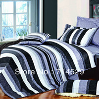 Cheap fashion strip black and white purple 4pc bedding set queen Duvet quilt comforter covers bedlinen bedclothes Cotton home textile
