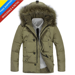 Wholesale fashion causal warm winter long Fur Collar hoody down jacket parka coat outerwear overcoat thick clothing for men