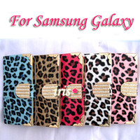 Cheap For Samsung Galaxy S3 i9300 S4 i9500 Note 3 N9005 N9000 case New Luxury Crystal Diamond Leopard Flip Case Free shipping