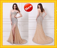 Reference Images colored rhinestones - 2014 New Arrival Fashion Pageant Sheath Dresses Hot Gold Sweetheart Side Slit Open Back Glitter Colored Rhinestones Sequins Party Prom Gowns