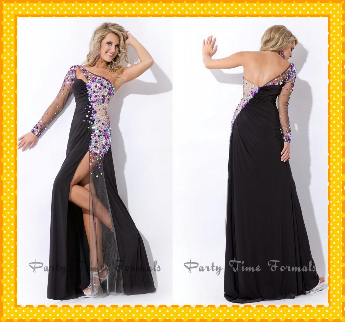 2017 Sexy Black One Shoulder with Long Sleeves Pageant Dresses ...
