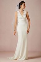 Cheap HQ 2014 Sexy Arrival V Neck Sheath Wedding Dresses Appliqued Neckline White Floor Length Chiffon Waist Belt Hot Salling Sweep Train Gowns