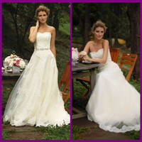 Wholesale New Fashion Cheap Wedding Dresses Lace A Line Ribbon Floor Length Sleeveless Backless Strapless Tulle White Ivory Custom Real Gowns