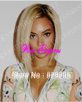 "Cheap Factory wholesale price 10"" two tone color #1b 613 silky straight brazilian human hair short bob lace front wig Free Shipping"