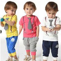 Wholesale New Summer Baby Boy s Clothes Children s Short Sleeve Tie Straps Printing Top TShirt Letter Casual Short Pant pc Suit Set C0606