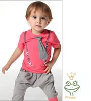 Wholesale New Arrival Summer Children Clothing Set Fashion Tie Tshirt Harem Pants Boy Casual Tracksuit Kids Suit Baby Sets C0606