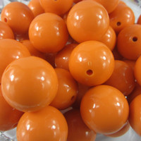 gumball beads - Big Size mm Orange Acrylic Solid Beads Chunky Gumball Beads A15