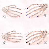 Cheap New Women Hair Accessories Luxury Crystal Rhinestone Human Skeleton Hands Design Hair Clip Bride hairpin For Party Feast Wedding