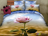 Cheap Free Shipping 3D Rose Oil Painting Series Bedding Sets Full Queen 4PCS Pure Cotton Rose Reactive Printed Rose Bedding Sets Queen