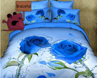 Cheap Free Shipping 3D Rose Oil Painting Series Bedding Sets Full Queen 4PCS Pure Cotton Reactive Printed Cabbage Rose Bedding