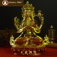 Wholesale M Tibetan Buddhist Four armed Shadakshari Avalokitesvara Bodhisattva Brass Gold Plated Buddha Statue CM Sculpture Figurines antique