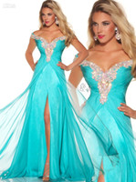 Cheap Stunning Rich Beaded Cap Sleeve Long Chiffon Aqua Formal Evening Prom Pageant Dress Gowns 81636P