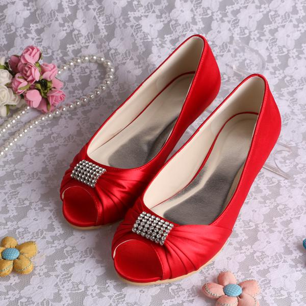 Bridal Shoes Open Toe Shoes WomenS Wedding Shoes Flat Heel Shoes Silks And Satin Formal Dress