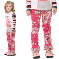Wholesale G3341 Nova brand m y Baby Girls casual Pants Rose flowers Ankle length Leggings Tights cotton fuchsia navy bow trousers pieces per